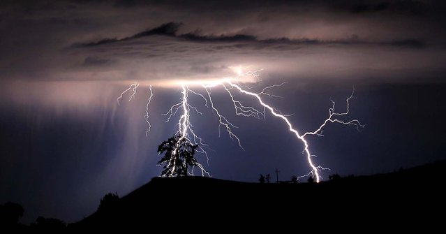 Lightning strikes above the Geysers area of northern Sonoma County, near Geyserville California, on July 4, 2013. (Photo by Kent Porter/Santa Rosa Press Democrat)