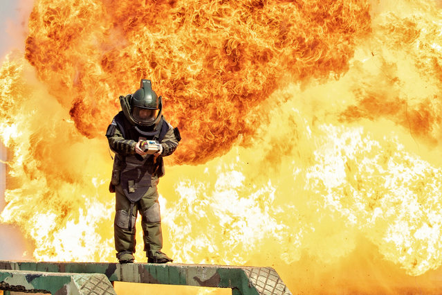 A professional training in explosive disposal is held in Nanning, Guangxi, China on 18th February, 2021. (Photo by Top Photo Corporation/Rex Features/Shutterstock)