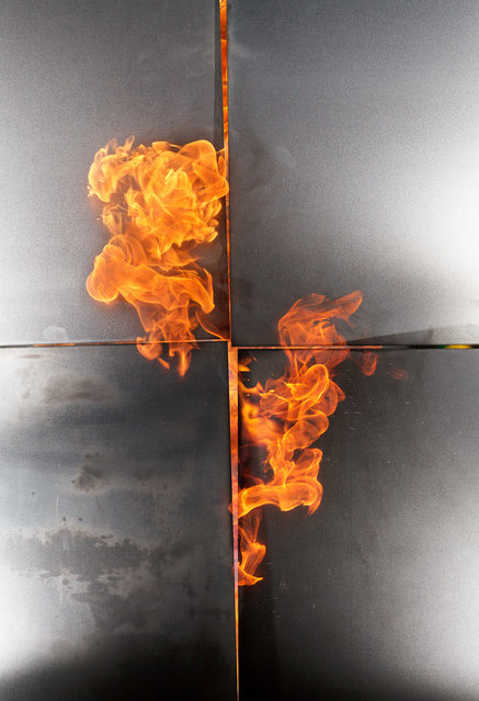Fire patterns created by igniting gasoline in midair. (Photo by Rob Prideaux)
