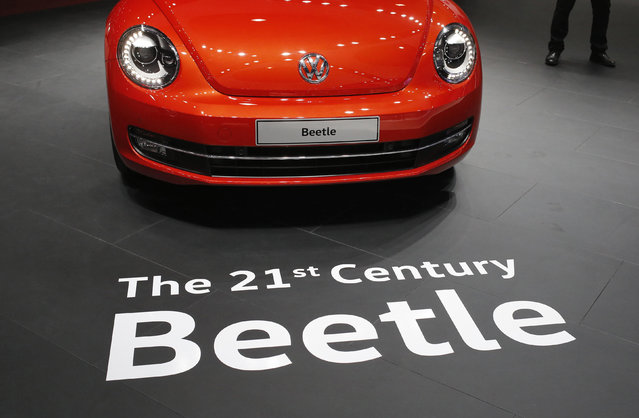 A Volkswagen Beetle car is pictured at the Indian Auto Expo in Greater Noida, on the outskirts of New Delhi, India, February 3, 2016. (Photo by Anindito Mukherjee/Reuters)