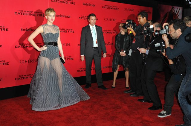 """Jennifer Lawrence arrives at the Los Angeles premiere of """"The Hunger Games: Catching Fire"""" at Nokia Theatre LA Live on Monday, November 18, 2013. (Photo by Jordan Strauss/AP Photo/Invision)"""