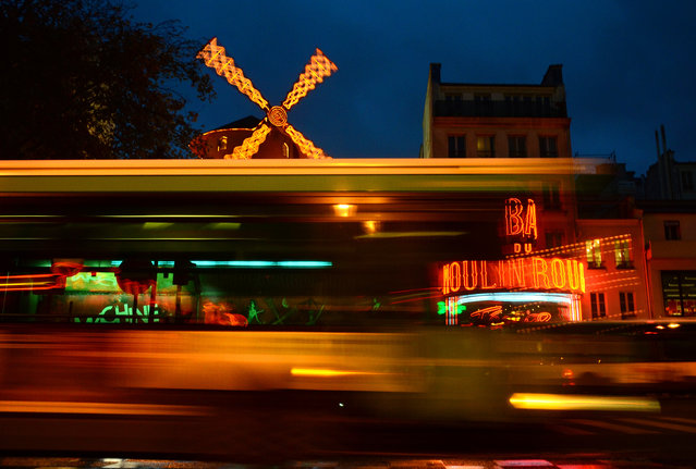 A picture taken on November 22, 2013 of the Moulin Rouge Cabaret at the Pigalle district area in Paris. (Photo by Franck Fife/AFP Photo)