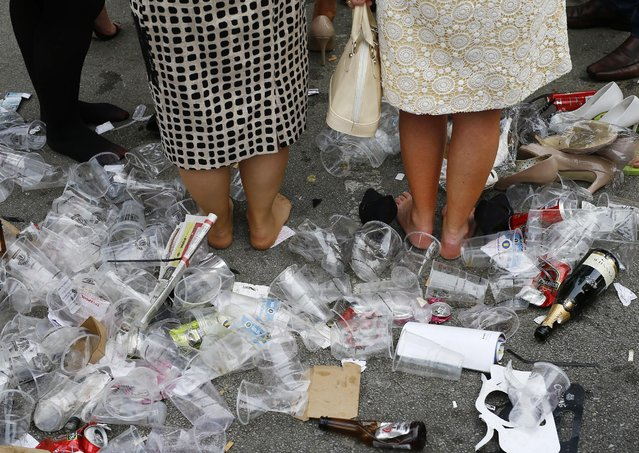 Horse Racing – Crabbie's Grand National Festival – Aintree Racecourse April 10, 2015: General view of rubbish at the end of the day. (Photo by Darren Staples/Reuters)