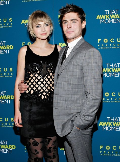 "Imogen Poots and Zac Efron attend the ""That Awkward Moment"" screening at Sunshine Landmark in New York. (Photo by Cindy Ord/Getty Images)"