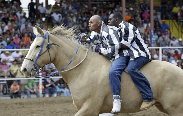 Inmates ride a horse in the Buddy Pick-Up event at the Angola Prison Rodeo in Angola, La., Saturday, April 26, 2014. Louisiana's most violent criminals, many serving life sentences for murder, are the stars of the nation's longest-running prison rodeo. In a half-century, the event has grown from a small event for prisoners into a big business that draws thousands of spectators. (Photo by Gerald Herbert/AP Photo)