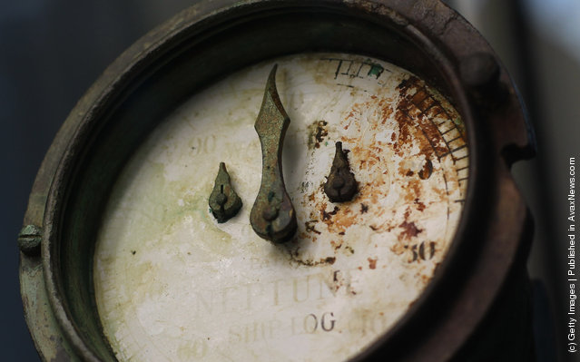 A logometer used to determine the Titanic's speed is seen among artifacts recovered from the RMS Titanic