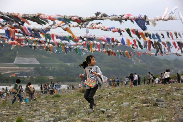 A girl walks near colorful carp streamers fluttering in the air over the Sagami River in Sagamihara, west of Tokyo, Monday, May 5, 2014 to mark Children's Day national holiday. It is a tradition in Japan to fly carp streamers on the Children's Day. (Photo by Eugene Hoshiko/AP Photo)
