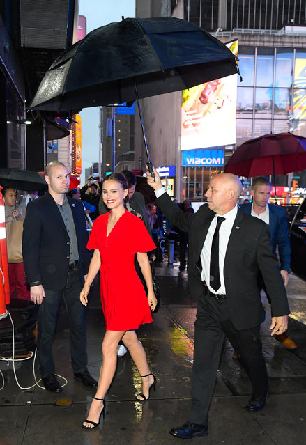 "Acttress Natalie Portman is seen outside ""Good Morning America"" on October 3, 2019 in New York City. (Photo by Raymond Hall/GC Images)"