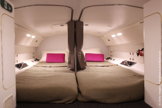 The interior of the crew sleeping quarters on the Boeing 787 Dreamliner