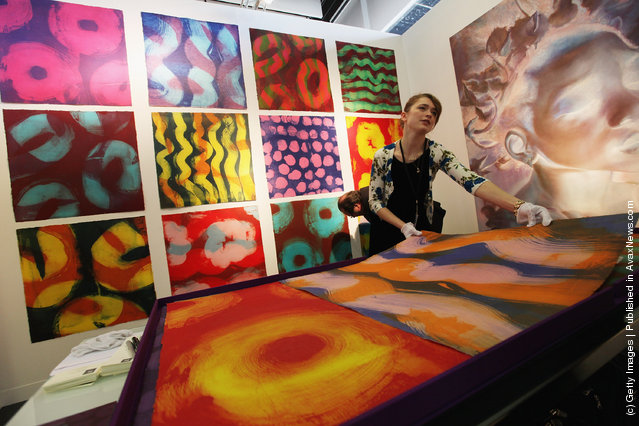Works by Marylyn Dintenfass are seen at The Armory Show, New York's annual international art fair, at Piers 92 and 94