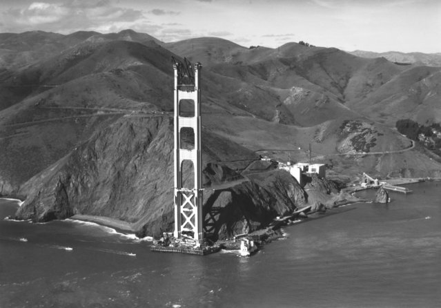 View of the Marin Tower of the Golden Gate Bridge under construction, San Francisco, California, 1934. (Photo by Underwood Archives/Getty Images)