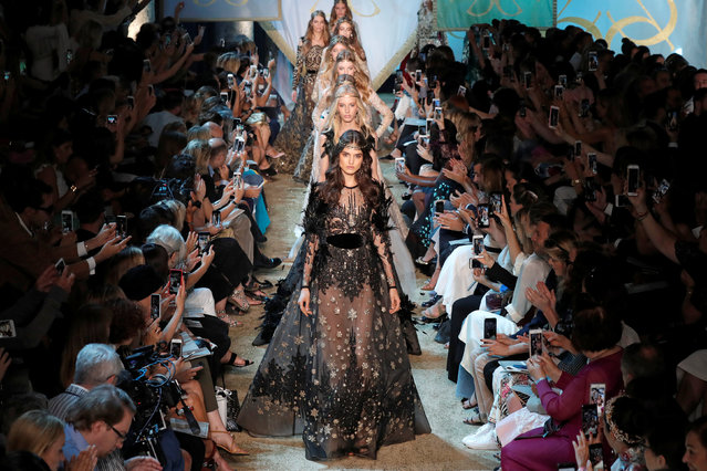 Model Blanca Padilla and models present creations by Lebanese designer Elie Saab as part of his Haute Couture Fall/Winter 2017/2018 collection show in Paris, France, July 5, 2017. (Photo by Charles Platiau/Reuters)
