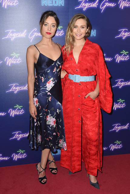 """Aubrey Plaza and Elizabeth Olsen attend the Neon Hosts The New York Premiere of """"Ingrid Goes West"""" at Alamo Drafthouse Cinema on August 8, 2017 in the Brooklyn borough of New York City. (Photo by Nicholas Hunt/Getty Images)"""