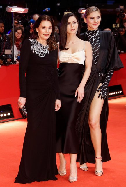 """Actor Stefanie Giesinger, actor Iris Berben and Lena Meyer-Landrut pose on the red carpet as they arrive for the screening of the movie """"My Salinger Year"""" at the 70th Berlinale International Film Festival in Berlin, Germany, February 20, 2020. (Photo by Michele Tantussi/Reuters)"""