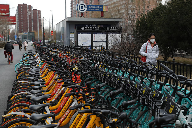 A woman wearing a protective face mask walks by rows of bicycles from bike-sharing companies parked outside a subway station in Beijing, Monday, March 2, 2020. China's manufacturing plunged in February as anti-virus controls shut down much of the world's second-largest economy, but companies are confident activity will revive following government stimulus efforts, according to two surveys. (Photo by Andy Wong/AP Photo)