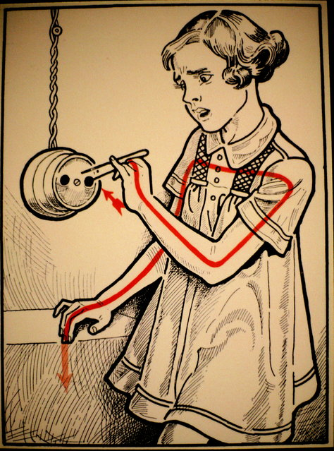 """The book """"Elektroschutz in 132 Bildern"""" (Electrical Protection in 132 Pictures) was published in Vienna in the early 1900s by a Viennese physician named Stefan Jellinek (1878-1968, a founder of the Electro-Pathological Museum). The pictures are nice and direct and unambiguous; they teach, graphically, that the surest way to kill yourself with electricity is to form a complete path from source (usually the bright red arrow) to ground (the screened back, pink arrow). Arrowheads provide the path for current flow. (Photo by The Vienna Technical Museum)"""