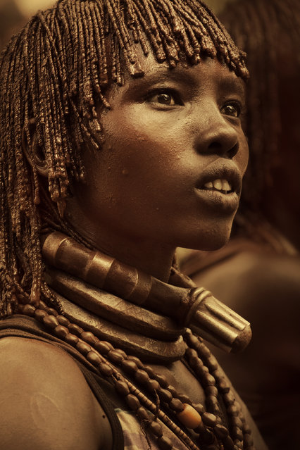 Neck rings can indicate if a women is a first or second wife. Hamar men often have more than one wife. (Photo by Diego Arroyo)