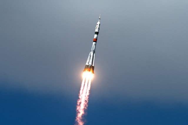 The Soyuz MS-16 lifts off from Site 31 at the Baikonur Cosmodrome in Kazakhstan Thursday, April 9, 2020 sending Expedition 63 crewmembers Chris Cassidy of NASA and Anatoly Ivanishin and Ivan Vagner of Roscosmos into orbit for a six-hour flight to the International Space Station and the start of a six-and-a-half month mission. (Photo by Andrey Shelepin/NASA/GCTC)