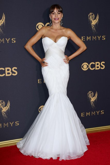 Sofia Vergara arrives at the 69th Annual Primetime Emmy Awards at Microsoft Theater on September 17, 2017 in Los Angeles, California. (Photo by Matt Baron/Rex Features/Shutterstock)