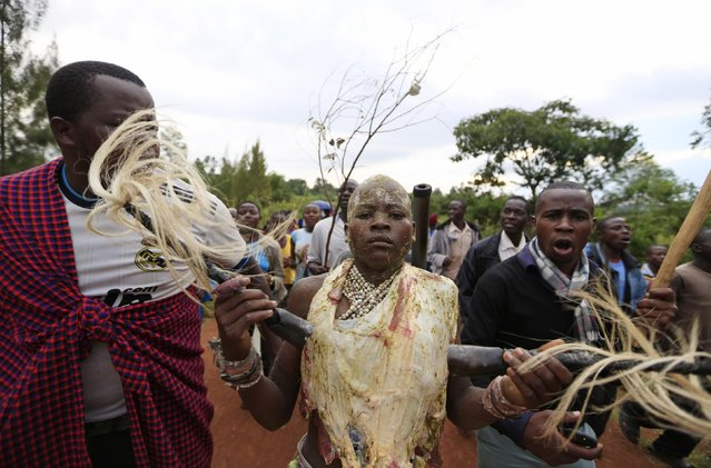 Bukusu villagers escort a youth, who is wearing a piece of beef, from his uncle's home as part of a circumcision ritual in Kenya's western region of Bungoma August 8, 2014. (Photo by Noor Khamis/Reuters)