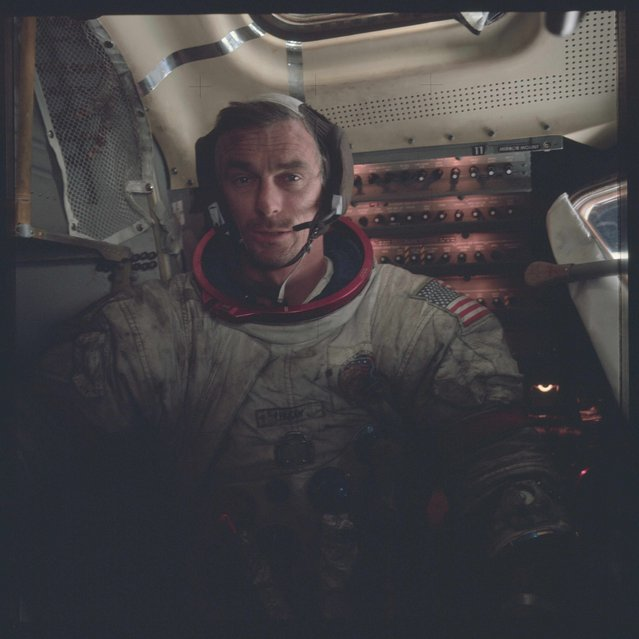 Astronaut Eugene A. Cernan, Apollo 17 commander, is photographed inside the lunar module on the lunar surface following the second extravehicular activity (EVA) of his mission in this December 12, 1972 NASA handout photo. (Photo by Reuters/NASA)
