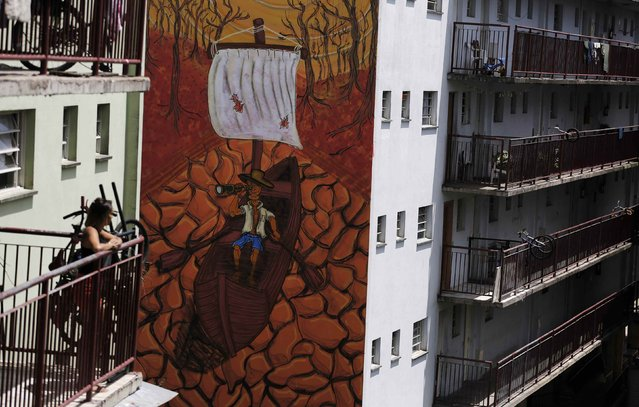 A resident looks at a drought-related mural painted by Brazilian artist Fel, depicting a boat on a cracked riverbed, on the side of a building in Sao Paulo November 25, 2014. (Photo by Nacho Doce/Reuters)