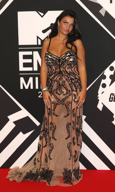 Elettra Lamorghini arrives for the 2015 MTV European Music Awards in Milan, Italy, Sunday, October 25, 2015. (Photo by Antonio Calanni/AP Photo)