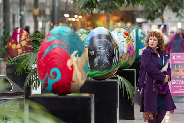 """100 giant pieces of Egg Art go on display in CHQ in IFSC Dublin this morning at 11am for the Big Egg Hunt auction in aid of the Jack & Jill Children's Foundation, with a """"meet and greet"""" opportunity with over 40 of the artists involved. The Mall in the CHQ Building in the IFSC in Dublin has never looked as well, with 100 pieces of Egg Art on display in advance of the Big Egg Hunt auction taking place live in the Four Seasons Hotel this Saturday 23rd March and online at www.thebigegghunt.ie until 28th March, to raise money for the Jack & Jill Children's Foundation. (Photo by Paul Sherwood)"""