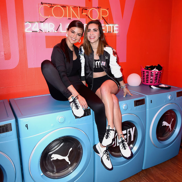 Selena Gomez and Fernanda Urdapilleta visit PUMA Defy City to celebrate launch of PUMA Defy at Paramount Studios on May 16, 2018 in Los Angeles, California.  (Photo by Vivien Killilea/Getty Images for PUMA)