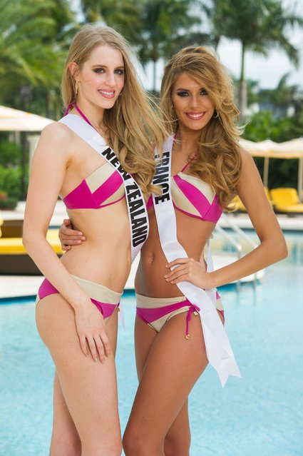 Miss New Zealand 2014 Rachel Millns and Miss France 2014 Camille Cerf pose in swimwear at the 63rd Annual Miss Universe Pageant in Miami, Florida, in this January 8, 2015, handout photo. (Photo by Reuters/Miss Universe Organization)