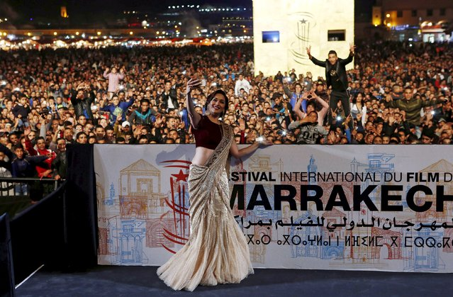 Bollywood actress Madhuri Dixit takes a selfie during the 15th Marrakech International Film Festival in Marrakesh, Morocco, December 5, 2015. (Photo by Youssef Boudlal/Reuters)