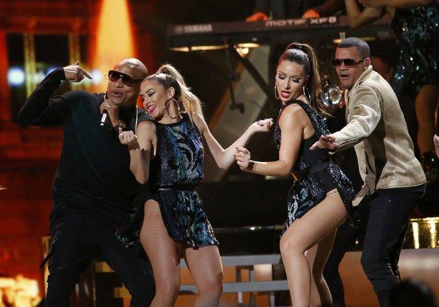 Alexander Delgado (L) and Randy Malcom Martinez of Gente De Zona perform at the 17th Annual Latin Grammy Awards in Las Vegas, Nevada, U.S., November 17, 2016. (Photo by Mario Anzuoni/Reuters)
