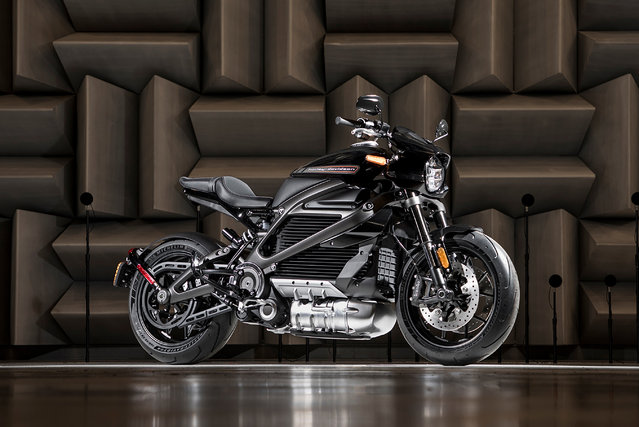 """This undated photo released by Harley-Davidson on Monday, July 30, 2018, shows a prototype model of Harley-Davidson's electric motorcycle, LiveWire, the first in a broad, no-clutch """"twist and go"""" portfolio of electric two-wheelers. Harley will roll out the electric motorcycle next year. (Photo by Harley-Davidson via AP Photo)"""