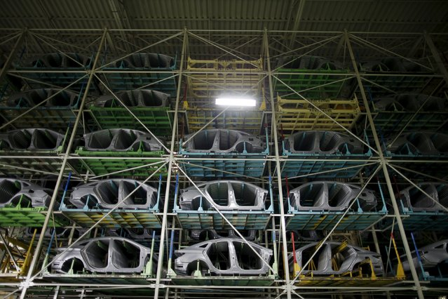 Parts of Hyundai Motor's sedans are seen at its plant in Asan, South Korea, January 27, 2016. (Photo by Kim Hong-Ji/Reuters)