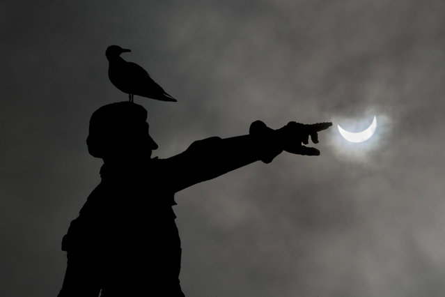 A partial solar eclipse of the sun is visible in Infante D Henrique square in Porto, North of Portugal, 20 March 2015. A Partial Solar Eclipse is seen in Europe, northern and eastern Asia and northern and western Africa on 20 March 2015. (Photo by Nuno Veiga/EPA)