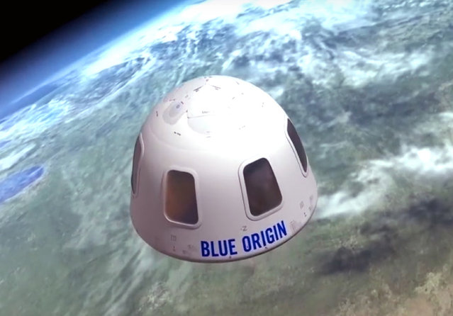 This undated image provided by Blue Origin shows an illustration of the capsule that will be used to take tourist into space. Amazon founder Jeff Bezos' Blue Origin project is testing a vertical-takeoff rocket topped by a six-passenger capsule for suborbital hops. Like Astronaut Alan Shepard's pioneering 1961 flight during Project Mercury, the capsule separates from the booster rocket and descends beneath parachutes without going into orbit around the Earth. The unconventional twist is reusability. (Photo by Blue Origin via AP Photo)