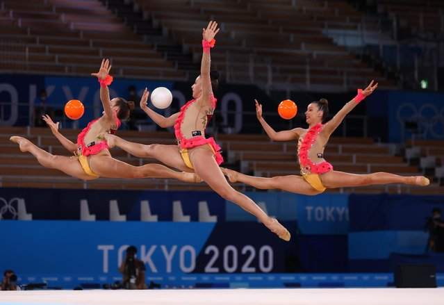 Team Australia competes in the group all-around qualification of the Rhythmic Gymnastics event during Tokyo 2020 Olympic Games at Ariake Gymnastics centre in Tokyo, on August 7, 2021. (Photo by Mike Blake/Reuters)