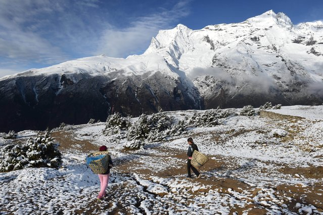 Basanti (L), 14, and her friend Jhalijhsa, 14, walk with their empty baskets down to the north-eastern Nepalese town of Namche Bazar (unseen) on a freshly snow-dusted field near Mt. Kondge (R) on April 18, 2015. Basanti and Jhalijsha were heading to the market in Namche to pick up supplies to take back to their village where they go to school on weekdays, after making their early-morning supply run. (Photo by Roberto Schmidt/AFP Photo)