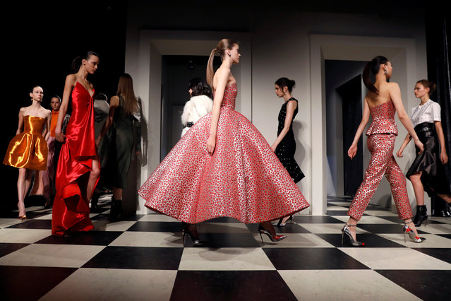 Models present creations during the Monse and Oscar de la Renta Autumn/Winter 2017 collection during New York Fashion Week in the Manhattan borough of New York, U.S., February 13, 2017. (Photo by Brendan McDermid/Reuters)