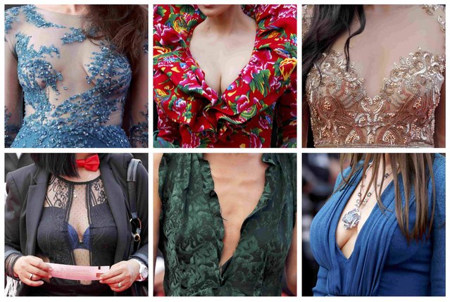 """A combination picture shows dress details of guets as they pose on the red carpet for the opening ceremony and the screening of the film """"La tete haute"""" out of competition during the 68th Cannes Film Festival in Cannes, southern France, May 13, 2015. (Photo by Regis Duvignau/Reuters)"""
