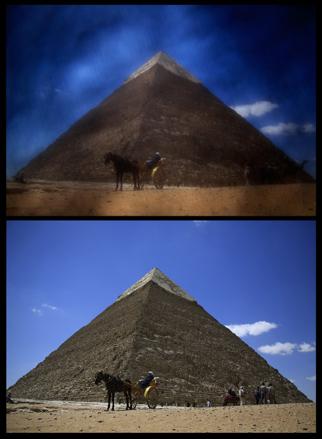 In this combination of two photos taken on Thursday, April 9, 2015 show an Egyptian guide waiting for tourists at the historical site of the Giza Pyramids, near Cairo, Egypt. The photo, top, was shot through the lowered veil of a niqab, which is worn by some conservative Muslim women. (Photo by Hassan Ammar/AP Photo)