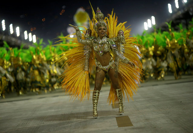 A reveller from Mocidade samba school performs during the second night of the carnival parade at the Sambadrome in Rio de Janeiro, Brazil February 28, 2017. (Photo by Ricardo Moraes/Reuters)