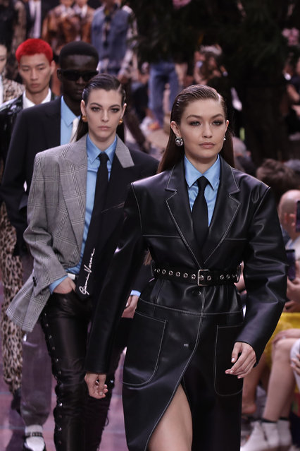 Model Gigi Hadid wears a creation as part of the Versace men's Spring-Summer 2020 collection, unveiled during the fashion week, in Milan, Italy, Saturday, June 15, 2019. (Photo by Luca Bruno/AP Photo)