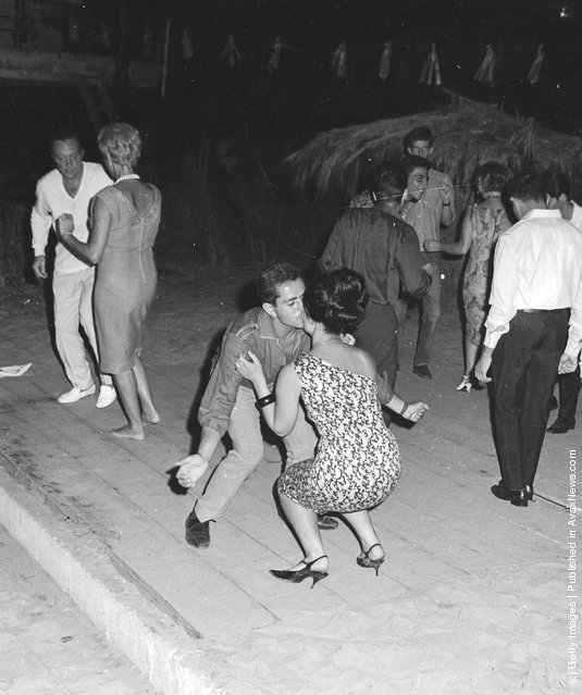 1965: Late night revellers dancing in the Acapulco beach area of Beirut