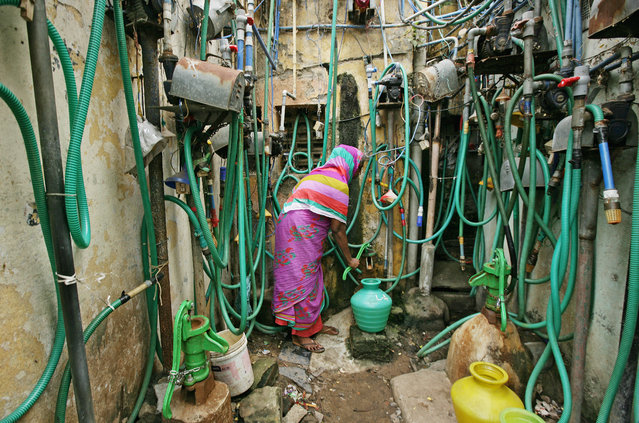 A woman uses a hand pump to fill up a container with drinking water in Chennai, India, June 25, 2019. (Photo by P. Ravikumar/Reuters)