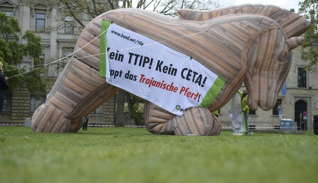 Protesters set up an inflatable 'Trojan Horse' as they demonstrate against Transatlantic Trade and Investment Partnership (TTIP) and Comprehensive Economic and Trade Agreement (CETA) trade agreements ahead of U.S. President Barack Obama's visit in Hannover, Germany April 23, 2016. (Photo by Nigel Treblin/Reuters)