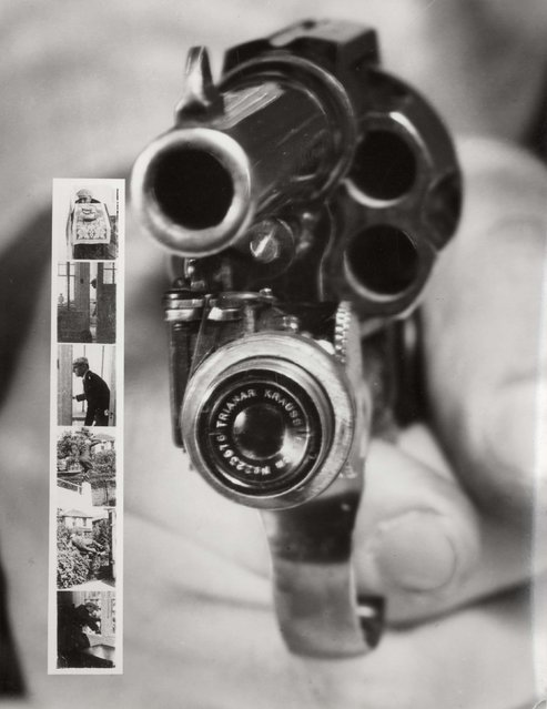 A Colt 38 with built in camera; when pulling the trigger the camera automatically shoots images. To the left, a series of images taken by the camera. This invention weighs 170 gr., the lens is 4 cm wide and it was invented to decrease crime. Date: 1930s. (Photo by Mary Evans Picture Library/Caters News)