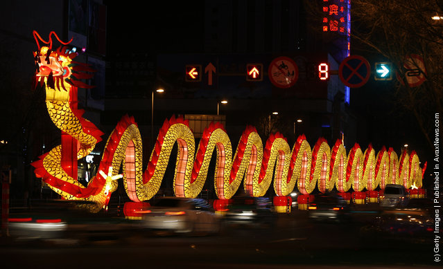 A huge dragon lantern is set up to celebrate the Chinese New Year of Ox