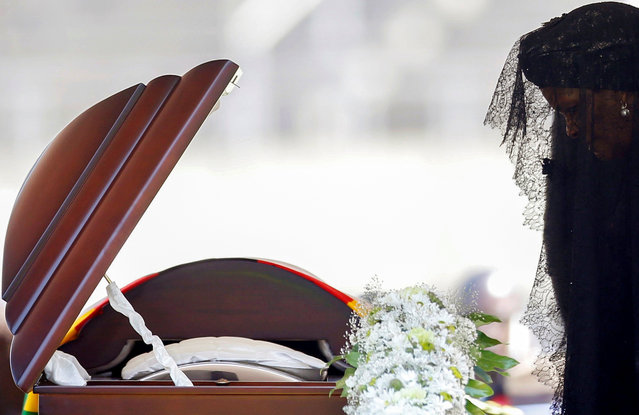 Former first lady of Zimbabwe, Grace Mugabe pays her last respects during a state funeral of  her husband and Zimbabwe's longtime ruler Robert Mugabe, at the national sports stadium in Harare, Zimbabwe, September 14, 2019. (Photo by Siphiwe Sibeko/Reuters)