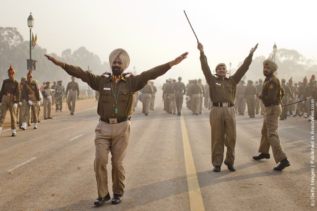 Indian soldiers march in preparation for the upcoming Republic Day parade